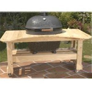 Picture Of Primo Cypress Wood Table For Primo Oval XL Grill PRM600