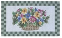 Picture of Green Flower Basket Wool Hearth Rug
