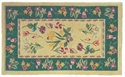 Picture of Beige and Blue Botanical Wool Hearth Rug